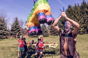 Lost Control (Celt Attacking Piñata at birthday party with a sword)